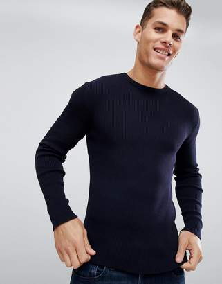 French Connection Muscle Fit Crew Neck Rib Sweater
