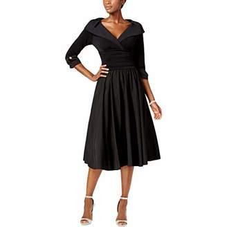 Jessica Howard Women's Rhinestone Cuff Sleeve Portait Collar Dress