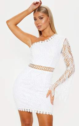 PrettyLittleThing White One Shoulder Lace Bodycon Dress