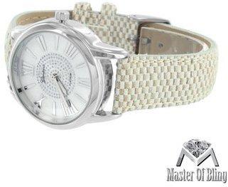 ホワイトゴールドトーン時計ローマ数字時間マークダイヤルラボダイヤモンドクロコダイルストラップ