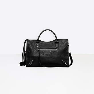 "Balenciaga Medium size lambskin hand carry and shoulder bag with ""classic"" studs"