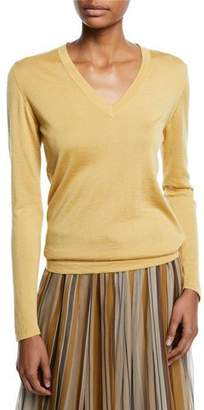 Brunello Cucinelli V-Neck Long-Sleeve Cashmere-Silk Pullover