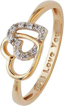 Moon & Back 9ct Gold Plated Silver Two Heart CZ Message Ring