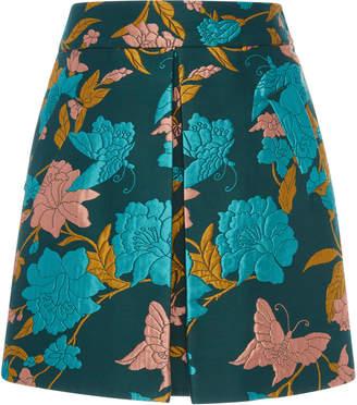MONICA La DoubleJ Santa Pleated Floral-Jacquard Mini Skirt