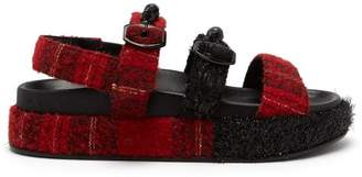 Simone Rocha Crystal And Faux Pearl Embellished Tartan Sandals - Womens - Black Red