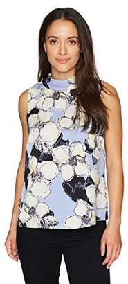 Ellen Tracy Women's Petite Tie Back High Neck Shell