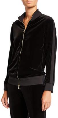 Chiara Boni Zip-Front Banded Velvet Track Jacket