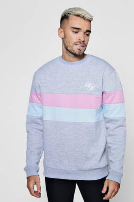boohoo MAN Embroidered Colour Block Sweater