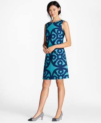 Brooks Brothers Medallion-Print Stretch-Cotton Shift Dress