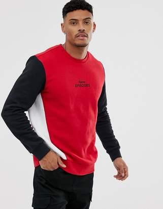 Bershka color block sweatshirt in red with chest print