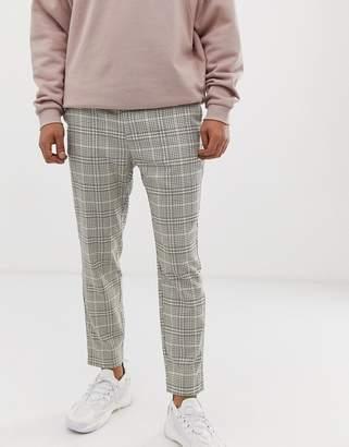 Bershka skinny pants with houndstooth print in beige
