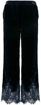Gold Hawk velvet lace trim trousers