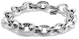 David Yurman Oval Large Link Bracelet With Diamonds, 15Mm