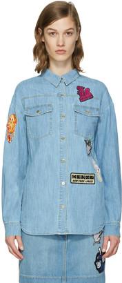 Kenzo Blue Denim Cartoon Patches Shirt $375 thestylecure.com