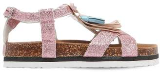 Colors of California Glittered Leather & Rubber Sandals