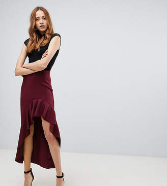 Asos Tall TALL Scuba Skirt with High Low Ruffle Detail
