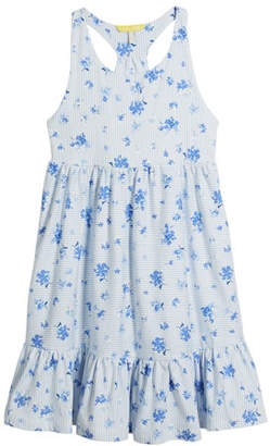 Joules Juno Stripe & Floral Sleeveless Dress, Size 3-10