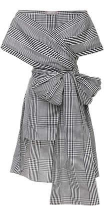 Lela Rose Bow-Detailed Gingham Poplin Wrap Top