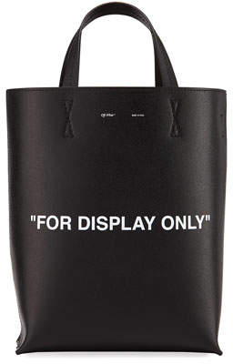 Off-White Leather For Display Only Tote Bag, Black/White