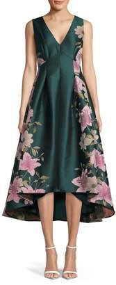 Eliza J V-Neck Sleeveless Fit--Flare Floral-Print Dress