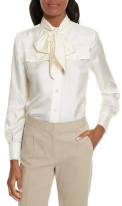 Women's Tory Burch Holly Tie Neck Silk Blouse