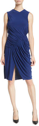Jason Wu Ruffled-Front Sleeveless Fluid Evening Jersey Sheath Dress