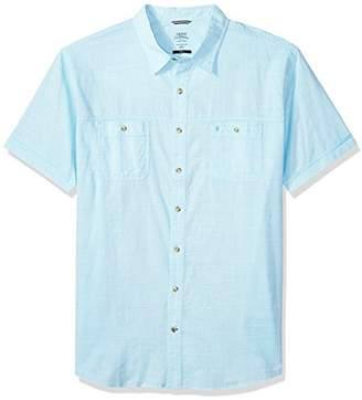 Izod Men's Size Big Saltwater Chambray Solid Short Sleeve Shirt