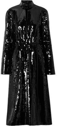Tibi Avril Shell-paneled Sequined Cotton Midi Dress - Black
