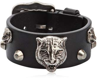 Gucci Tiger Head Leather Bracelet