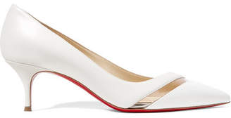 Christian Louboutin 17th Floor 55 Pvc-trimmed Leather Pumps - White