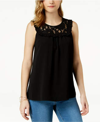 Maison Jules Ruffled Lace-Contrast Top, Created for Macy's