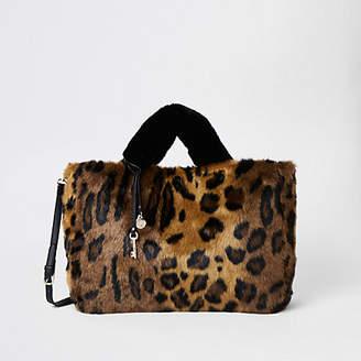 River Island Brown leopard print faux fur shopper