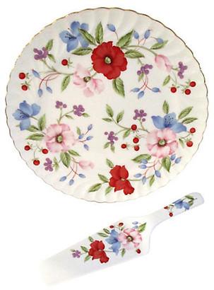 One Kings Lane Vintage Floral Cake Platter & Server - Osprey Blu