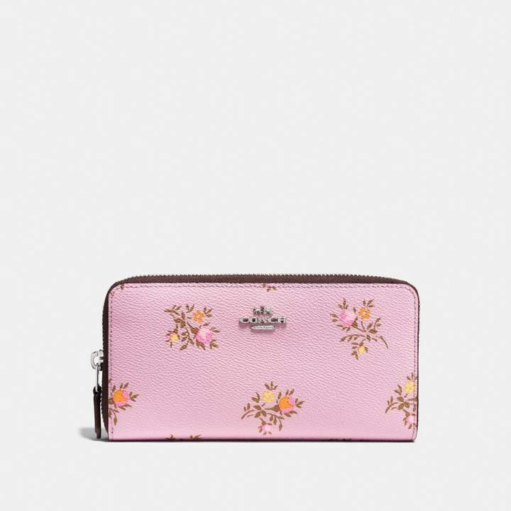 Coach Accordion Zip Wallet With Cross Stitch Floral Print - LILY CROSS STITCH FLORAL/SILVER - STYLE
