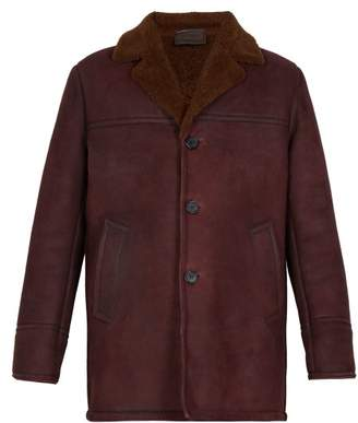 Prada Three Button Shearling Jacket - Mens - Burgundy
