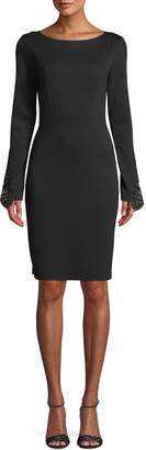 Elie Tahari Azura Boat-Neck Long-Sleeve Ponte Sheath Dress w/ Lace Cuffs