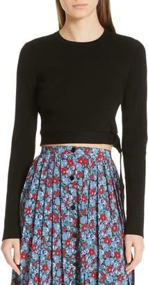 Robert Rodriguez Crop Belt Hem Merino Wool Blend Sweater