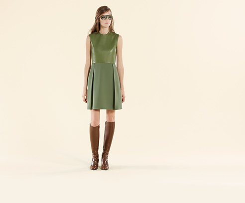 Gucci Leather And Silk A-Line Dress