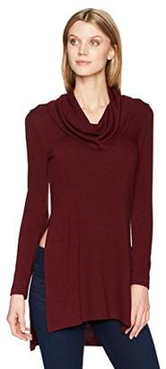 Karen Kane Women's Cowl Neck Side-Slit Sweater