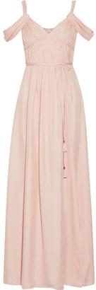 Rachel Zoe - Coleen Off-the-shoulder Ruched Silk Maxi Dress - Pastel pink $695 thestylecure.com