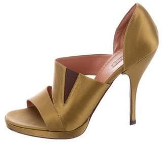 Alaia Satin Round-Toe Sandals