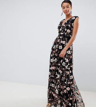 True Decadence Tall All Over Embroidered V Neck Maxi Dress
