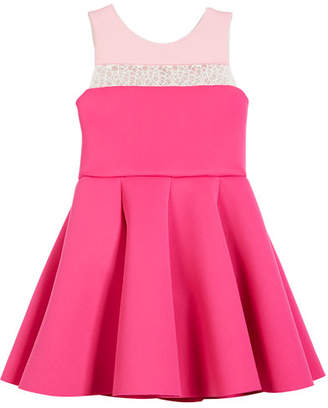 Zoe Colorblock 8-Panel Lace-Inset Swing Dress, Size 7-16