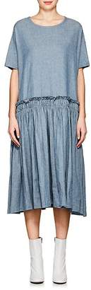 Yohji Yamamoto Regulation Women's Herringbone-Weave Chambray Pleated Dress