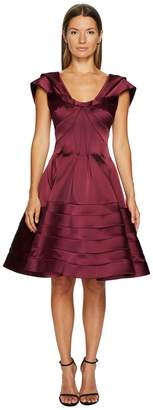 Zac Posen Stretch Satin Fit and Flare Dress