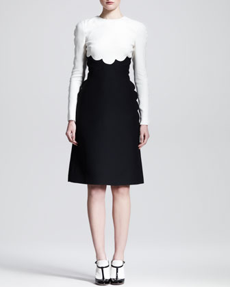 Valentino Bicolor Scallop-Edge Long-Sleeve Dress