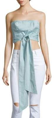 Tibi Strapless Satin Cropped Top