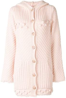 Twin-Set hunky knit hooded cardigan