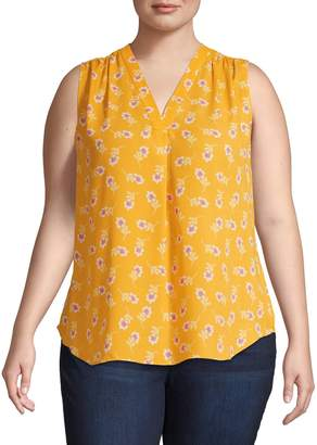 Vince Camuto Plus Floral Sleeveless Top