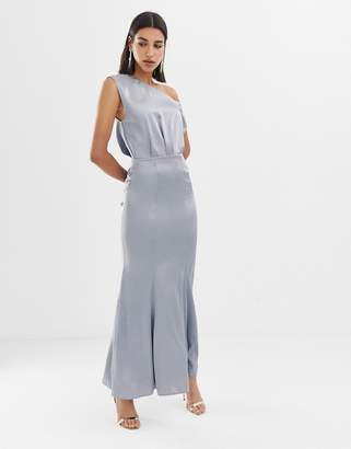 Asos Design DESIGN maxi dress with drape one shoulder in satin